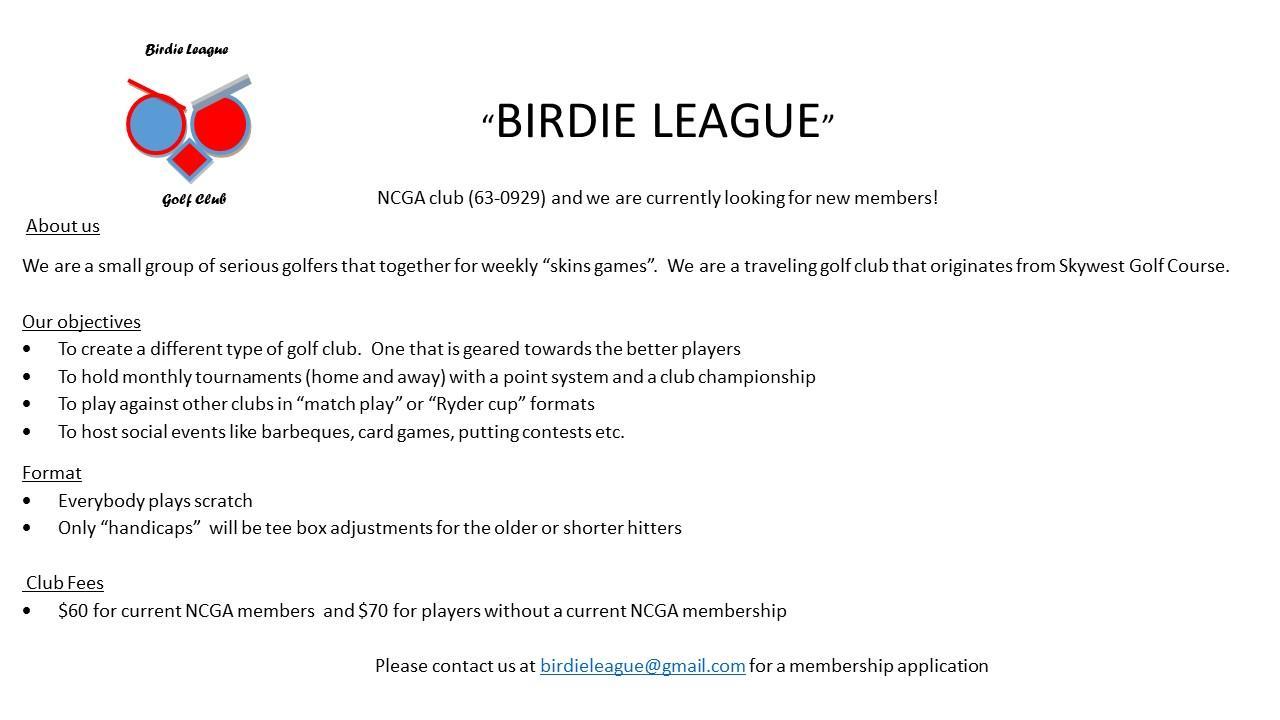 Skywest Birdie League Skins Game